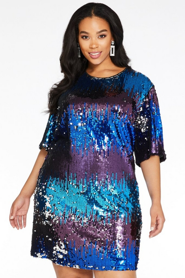 Curve Multicoloured Sequin Short Sleeve Tunic Dress