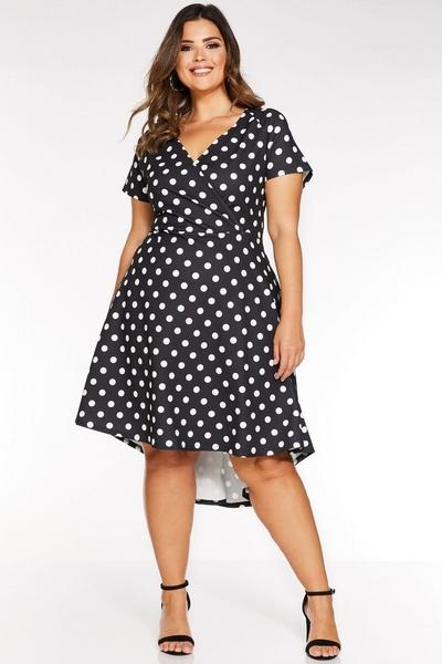 Curve Black And White Polkadot Dip Hem Dress