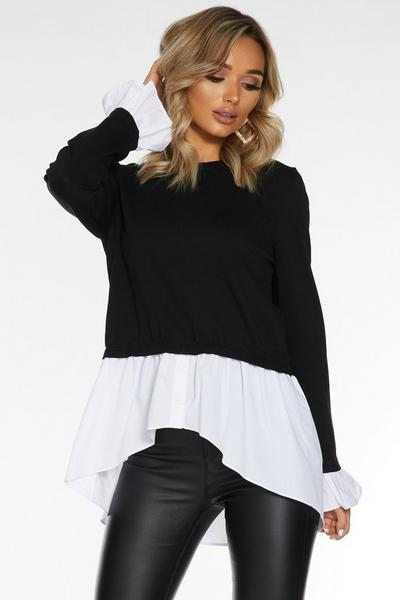 Black Knit Round Neck Shirt Jumper