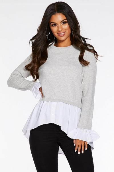 Grey Knit Round Neck Shirt Jumper