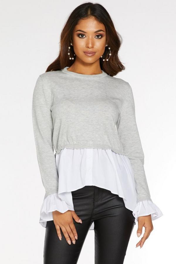 Jersey Petite Gris con Camisa