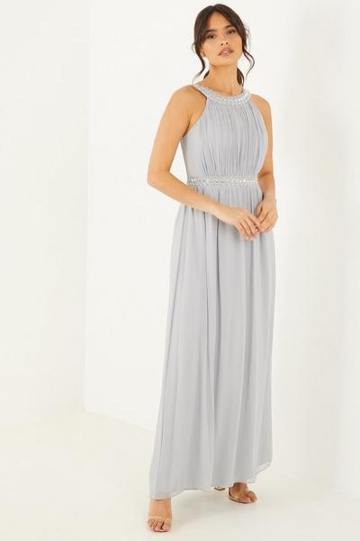 Grey Turtle Neck Maxi Dress
