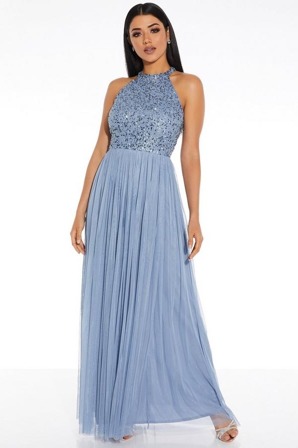 Blue Embellished Turtle Neck Maxi Dress