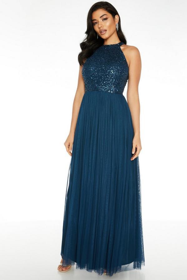 Vestido Largo Azul Marino con Lentejuelas