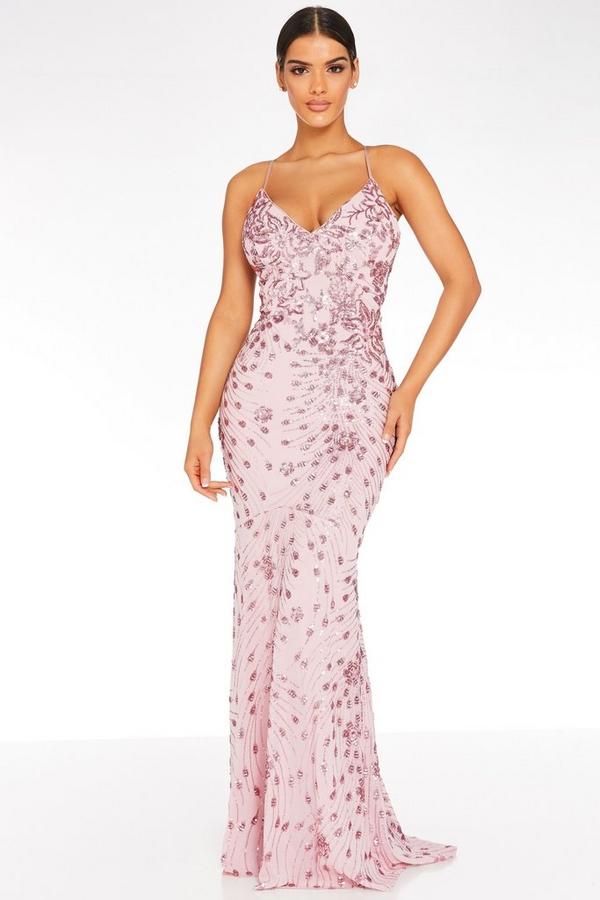 Pink Sequin Cross Back Maxi Dress