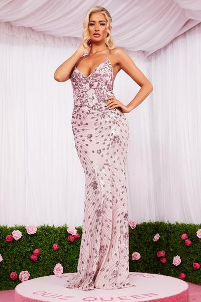 Pink Sequin Cross Back Maxi Dress