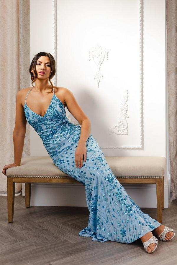 Blue Sequin Cross Back Maxi Dress