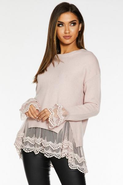 Pink Knit Lace Hem Jumper