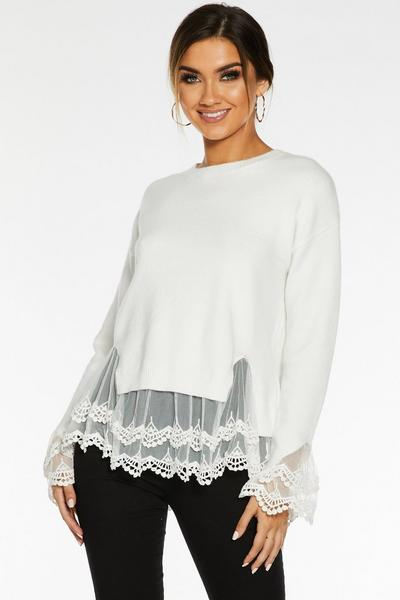 Cream Knit Lace Hem Jumper