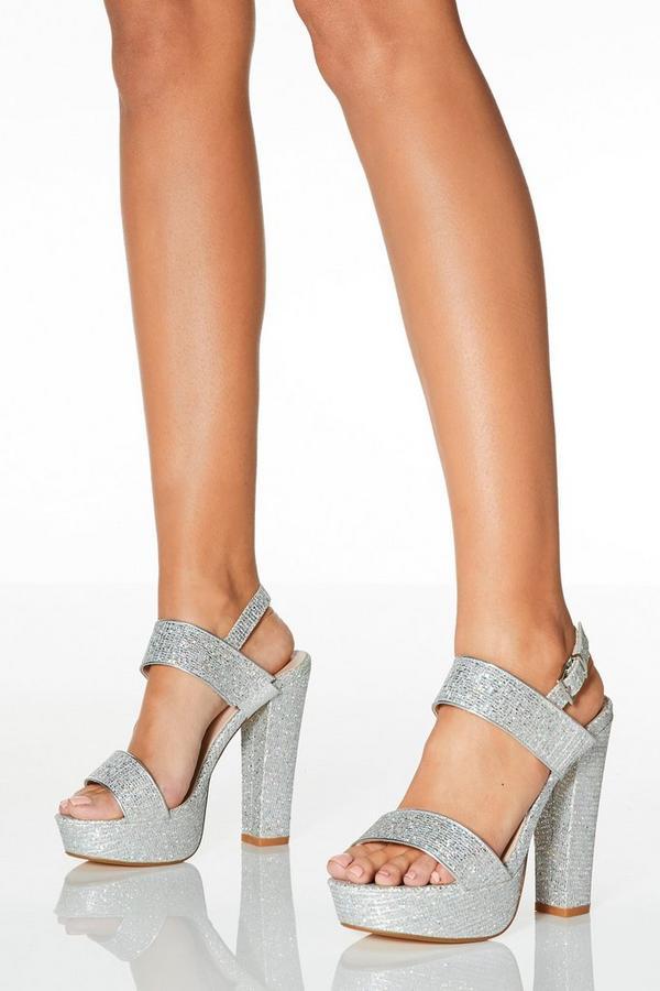 Silver Shimmer Platform Heeled Sandals