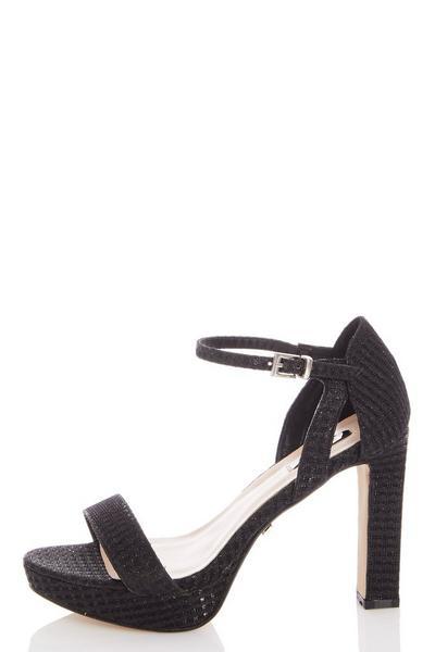 Black Shimmer High Heeled Sandals