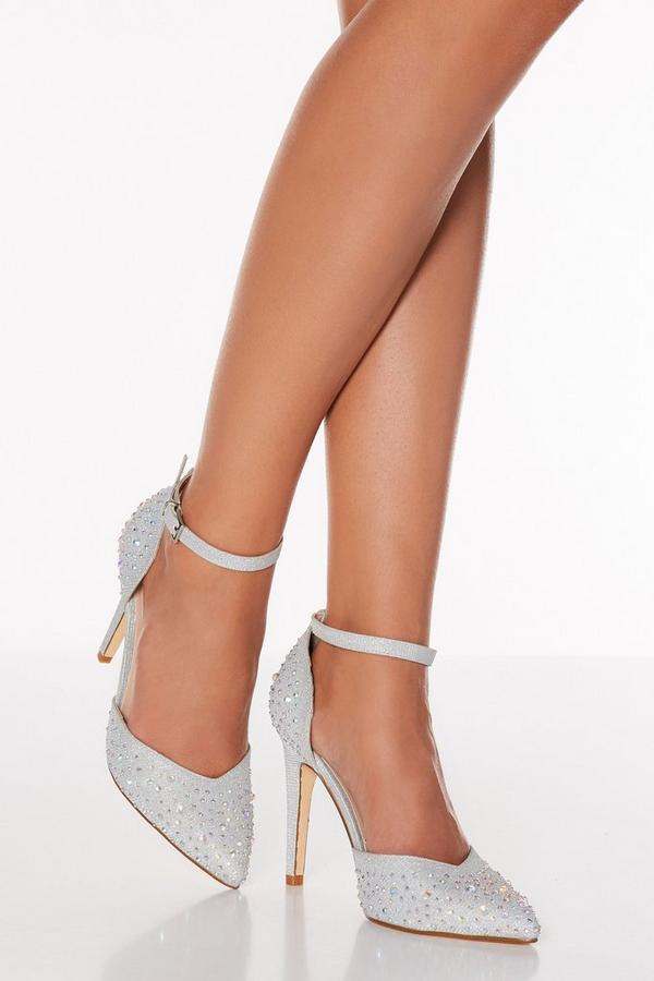 Silver Shimmer Diamante Court Heel