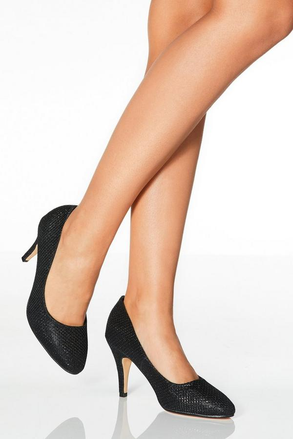 Black Shimmer Almond Toe Courts
