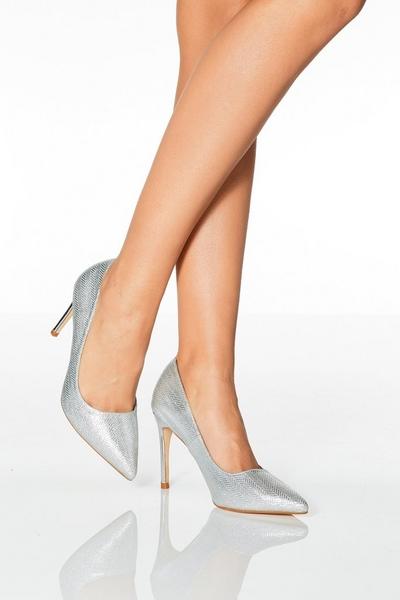 Silver Glitter Point Toe Court