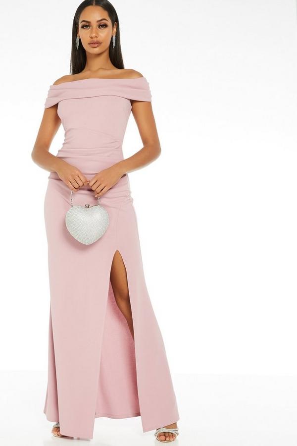 Mauve Bardot Split Maxi Dress