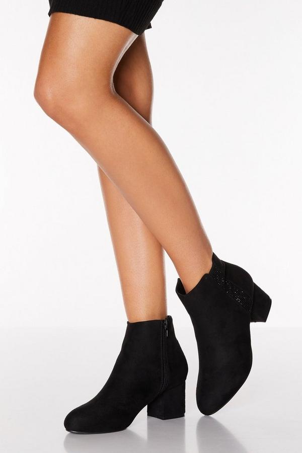 Black Faux Suede Diamante Strip Ankle Boot