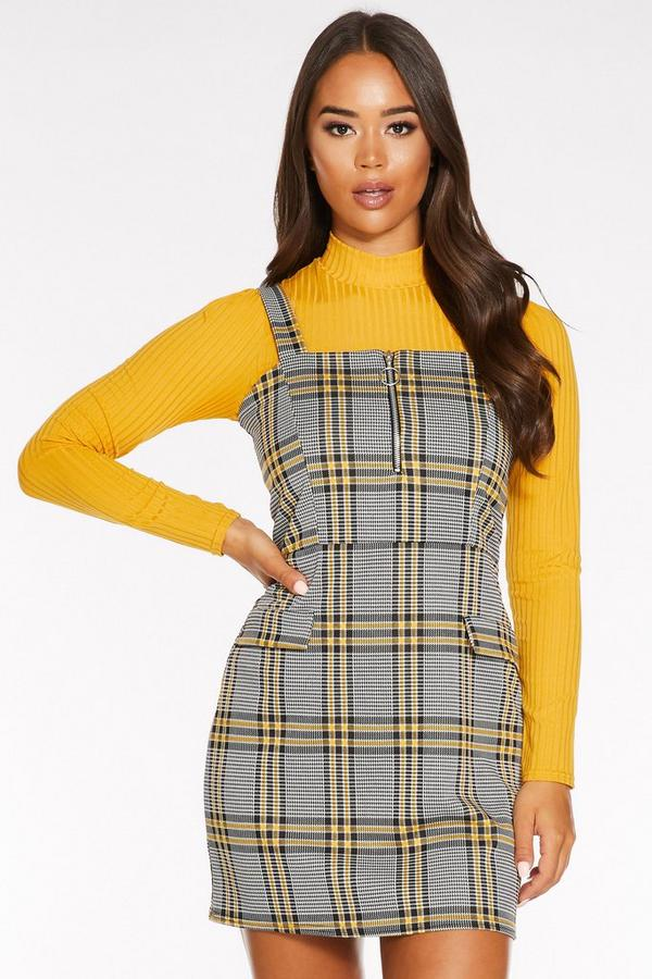 Black and Yellow Check Zip Front Pinafore Dress