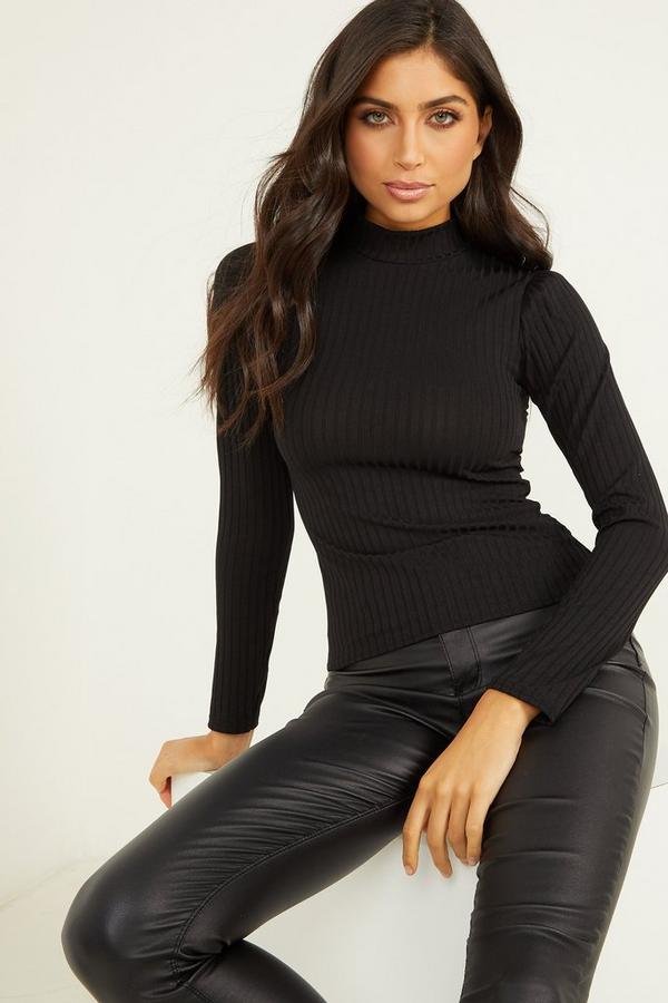Black Knit Ribbed Turtle Neck Top
