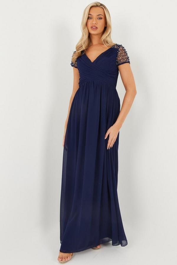 Navy Wrap Embellished Maxi Dress