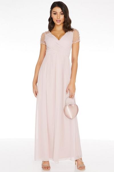 Pink Wrap Embellished Maxi Dress