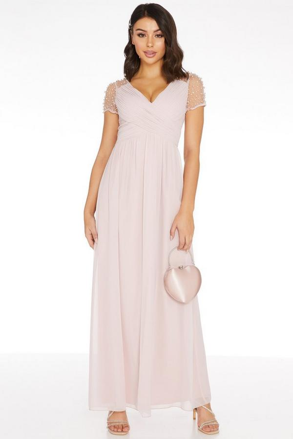 Pink Wrap Embellished Maxi Dress