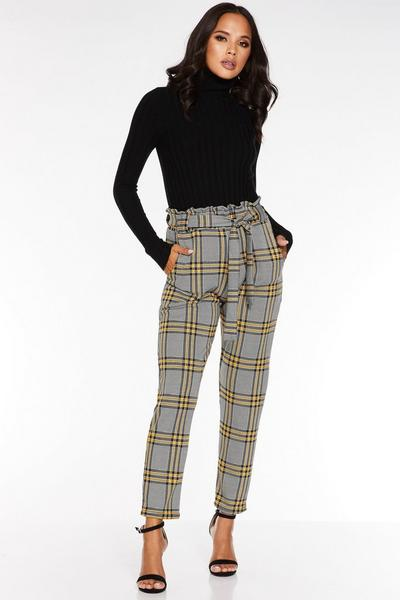 Black and Yellow Check Paper Bag Trouser