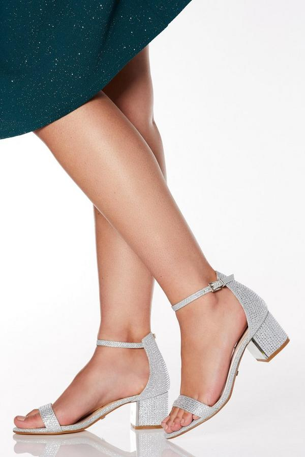 Wide Fit Silver Shimmer Diamante Low Heel Sandals