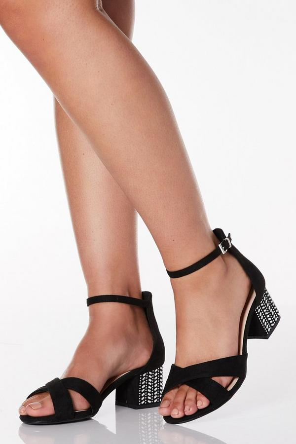 Wide Fit Black Diamante Low Heel Sandals