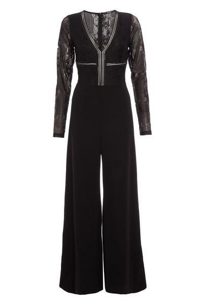 Black Lace V Neck Palazzo Jumpsuit