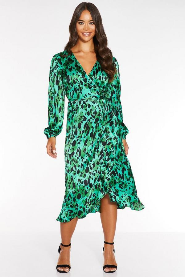 Green Satin Leopard Print Wrap Midi Dress