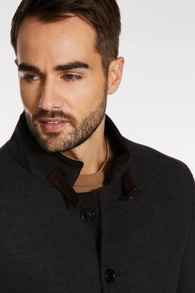 Belted Wool Coat in Charcoal
