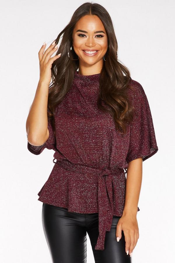 Berry Light Knit Glitter Turtle Neck Belted Top