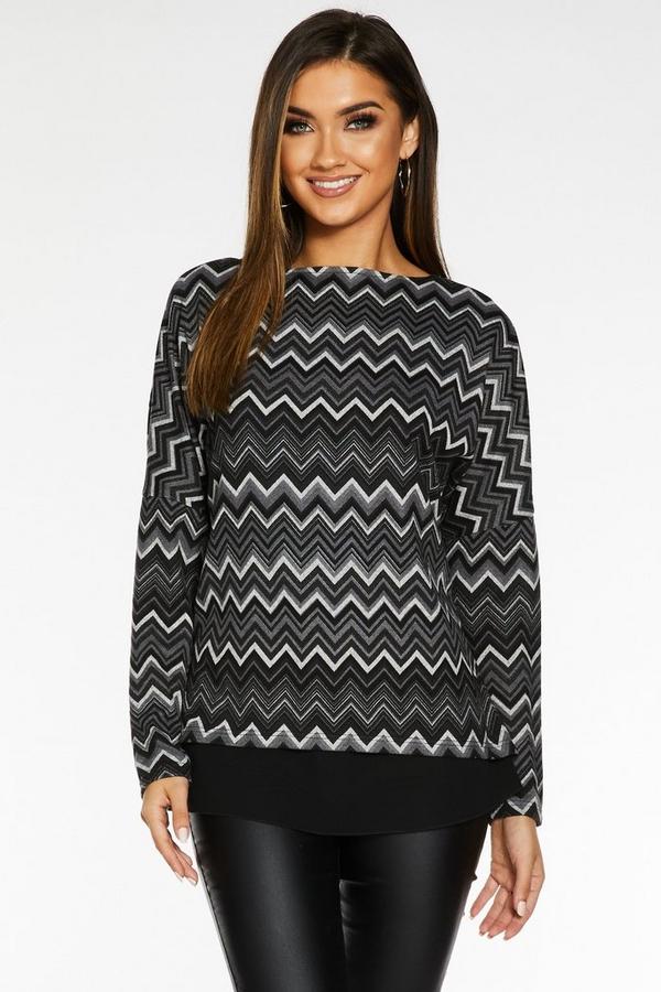 Black and Grey Light Knit Chevron Top