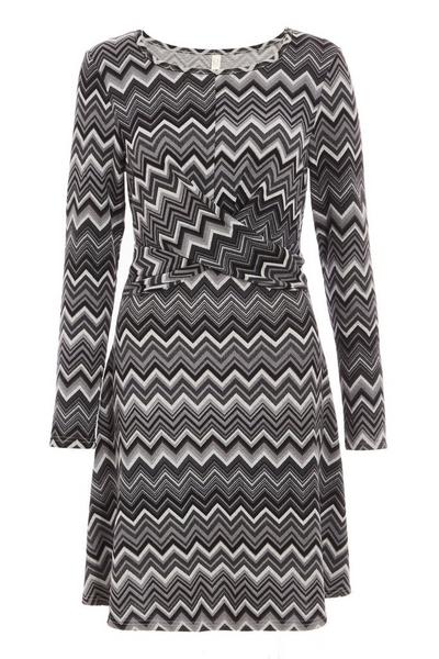 Black and Grey Chevron knot Front Dress