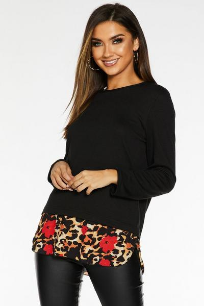 Black and Red Light Knit Animal Print Top
