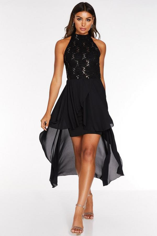 Black and Rose Gold Sequin Lace Turtle Neck Midi Dress