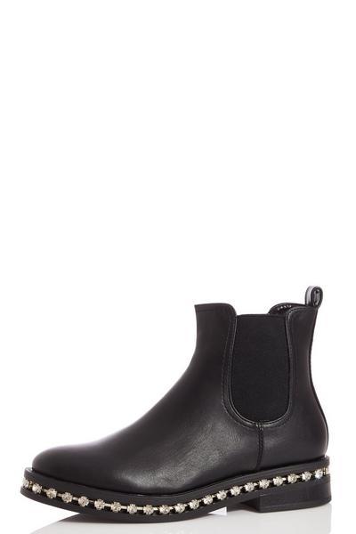 Black Faux Leather Diamante Chelsea Ankle Boots