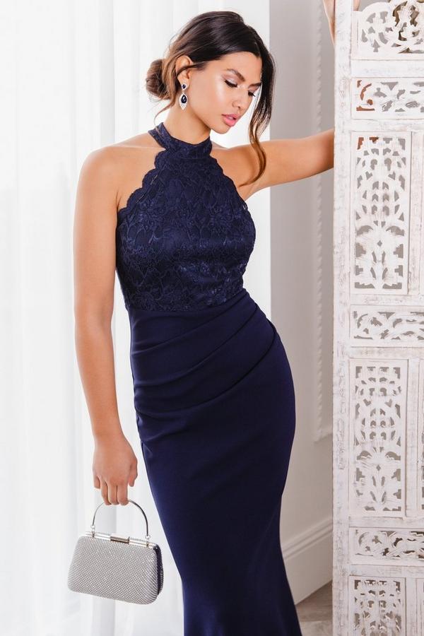 Navy Lace Fishtail Maxi Dress