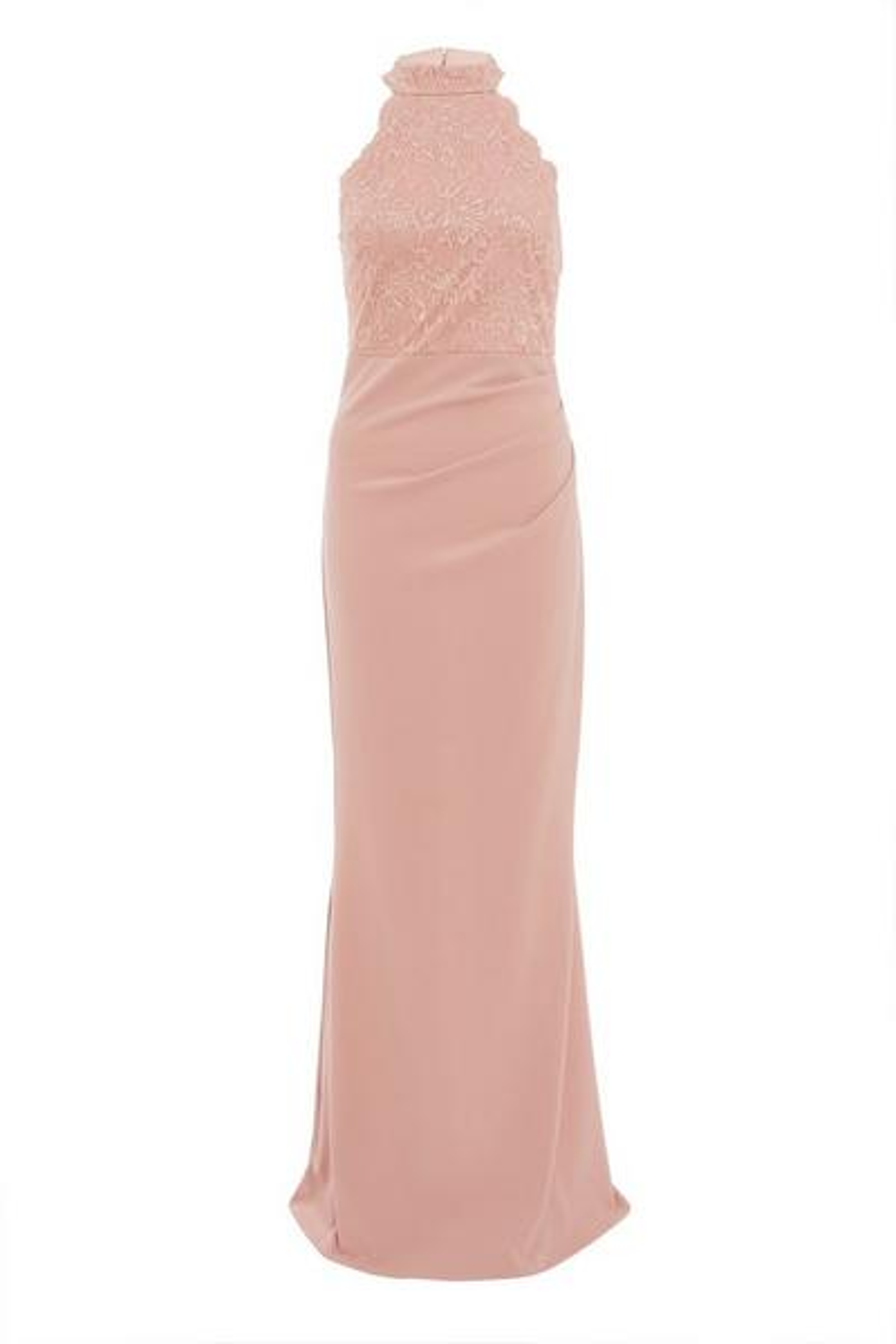 Pink Lace Fishtail Maxi Dress