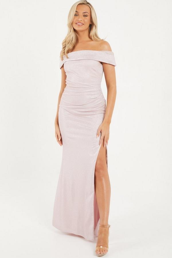 Pink Glitter Bardot Maxi Dress