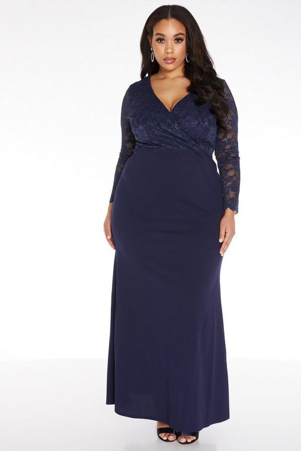 Curve Navy Lace Maxi Dress