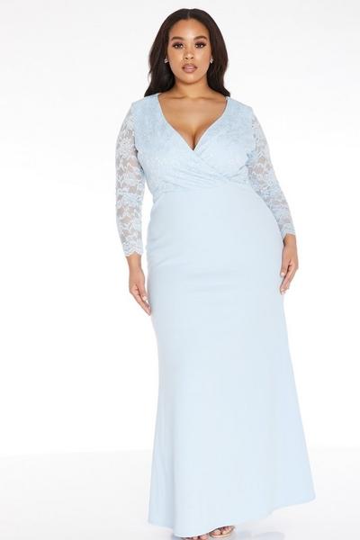 Curve Blue Lace Maxi Dress