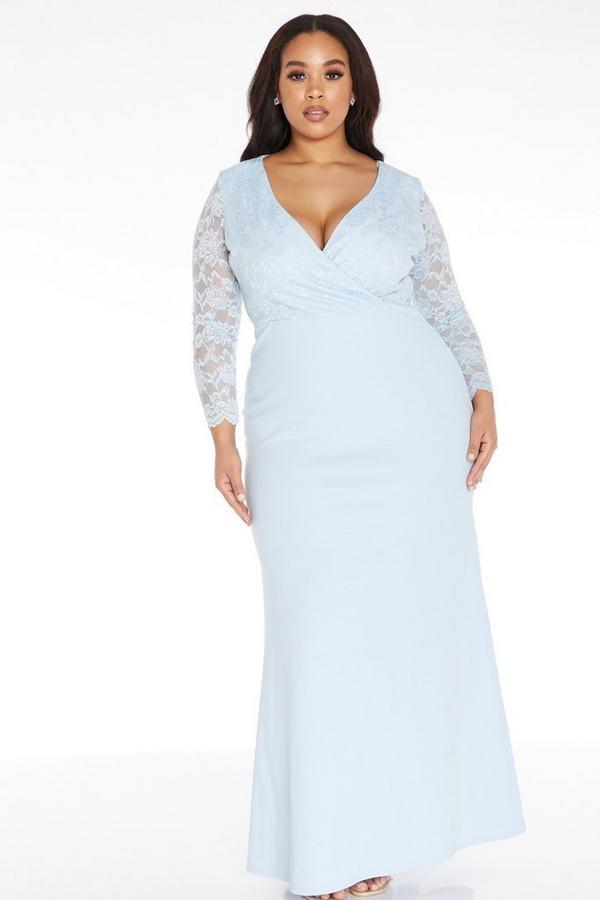 Plus Size Blue Lace Maxi Dress