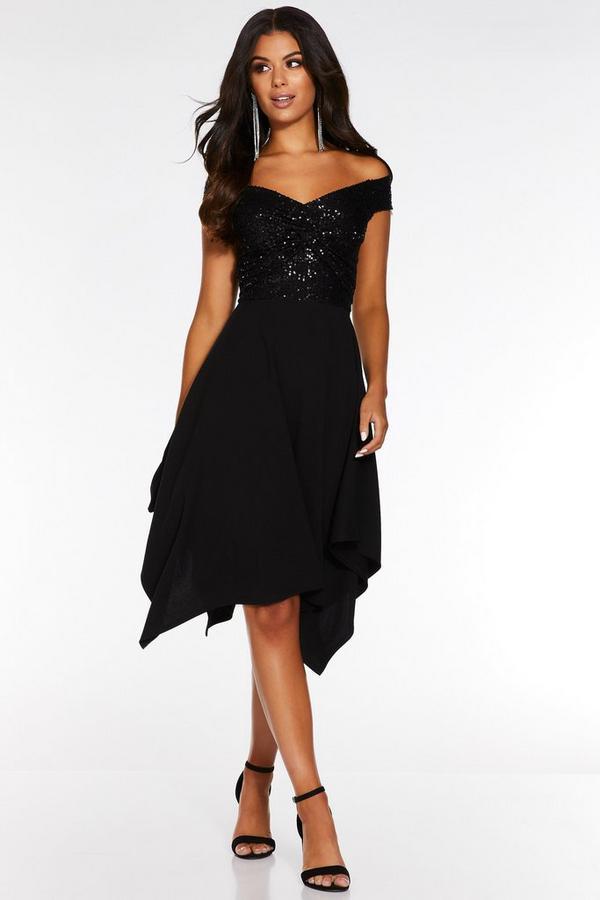 Black Sequin Bardot Hanky Hem Midi Dress