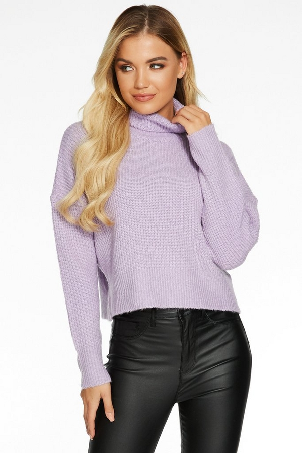 Lilac Knit Roll Neck Cropped Jumper