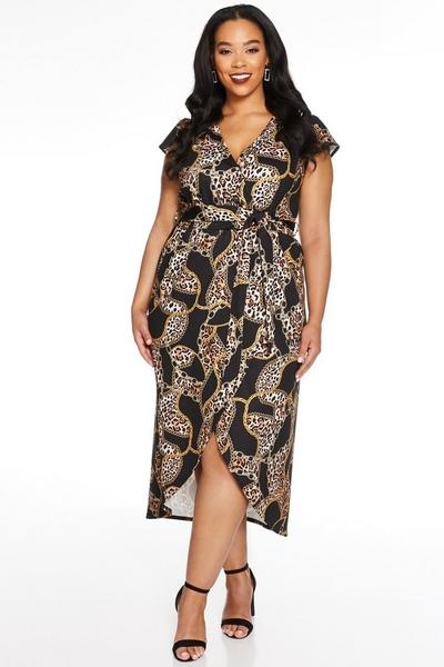 Curve Black Leopard Print Wrap Dress