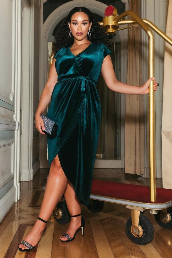 Sam Faiers Curve Bottle Green Velvet Wrap Midi Dress