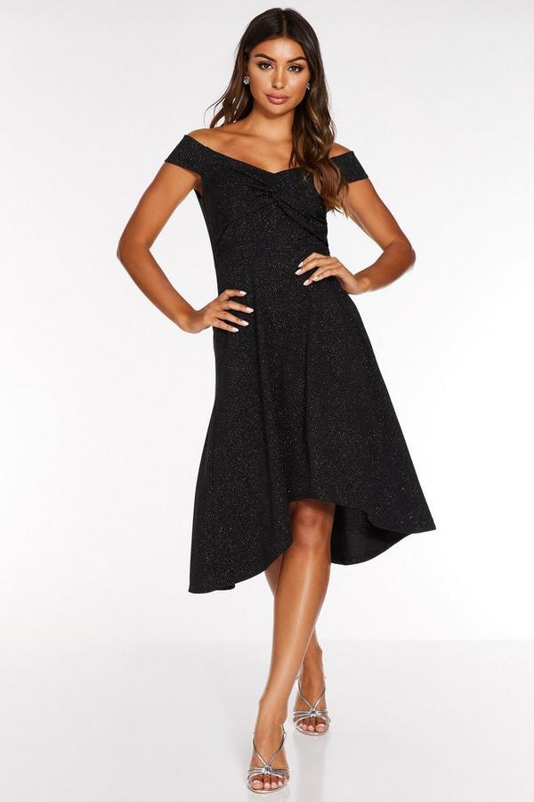 Black Bardot Knot Front Glitter Dip Hem Dress