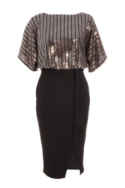 Rose Gold and Black Sequin Batwing Midi Dress