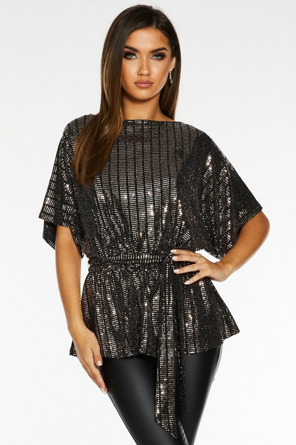 Gold and Black Sequin Batwing Belted Top